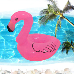 Wholesale Cell Phone Float - Wholesale- Inflatable Flamingo Drink Can Cell Phone Holder Stand Coasters Float Pool Toy for Kids Fun Swimming Floatation Device