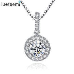 Wholesale sterling silver girls necklace - LUOTEEMI New Top Quality 925 Sterling Silver Zircon Necklace Pendant for Women Girls Party Wedding Silver Jewelry