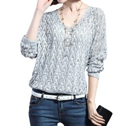 Wholesale Sexy Vneck - Wholesale- Autumn Fashion Women Thin Sweater High Elastic Solid Vneck Sweaters Women Slim Sexy Hollow Out Loose Knitted Pullovers Outwear H
