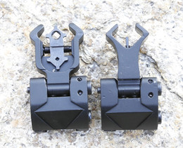 Wholesale Diamond Flips - Flip up Front Rear Iron Sight Set Dual Diamond Shape BUIS for 20mm Mount of Hunting Gun Rifle Airsoft Accessories