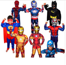 Wholesale Spiderman For Kids - Halloween Boys Muscle Super Hero Captain America Costume SpiderMan Batman Hulk Avengers Costumes Cosplay for Kids Children Boy Free Shipping