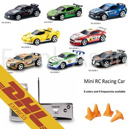 Wholesale Vehicle Channel Black Box - 48pcs lot Mini RC Racing Car 1:58 Coke Zip-top Pop-top Can4CH Radio Remote Control Vehicle 2010B LED Light 8 Colors Toys for Kids Xmas Gift