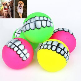 Wholesale dog tooth ball - Pet Cat Puppy Dog Chews Toys Funny Ball Teeth Silicon Chew Heavy Thickened Speelgoed Halloween XMAS Teeth Play Ball Toys HH-T60