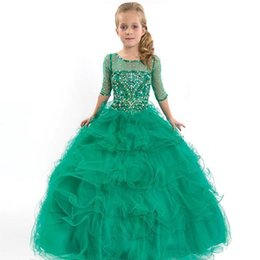 Wholesale Turquoise Children Dresses - Pageant Beauty Dresses For Junior 2017 Gowns Turquoise Flower Girl Kids Party Dress Children first communion dress girls