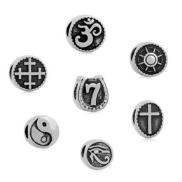 Wholesale Eye Angels - comejewelry Cross OM Yoga Religious Horus Eye Message compass Charms Stainless Steel Jewelry Beads Charms Fit Pandora Bracelet