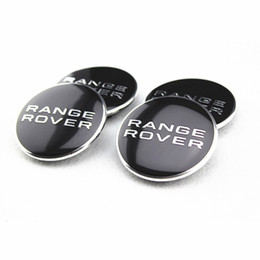Emblemi in metallo alluminio online-BLACK RANGE ROVER 62MM WHEEL Hub Centro LOGO Cap BADGE EMBLEMA Metallo Alluminio per LAND RANGE ROVER Evoque Discovery