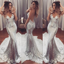 Wholesale Amazing Mermaid - Amazing Silver Sparkling Prom Dress Sexy Deep V-Neck Open Backless Sweep Train Formal Party Dresses 2017 New Fashion Evening Gowns For Teens