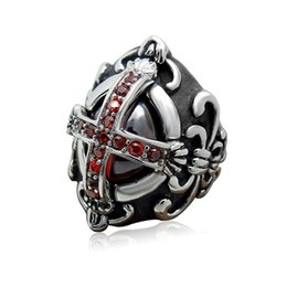 Wholesale Precious Stones Rings - Europe and the United States retro jewelry fashion retro jewelry Gothic cross red red precious stones titanium ring ring