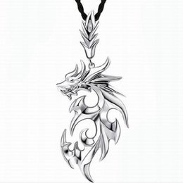 Wholesale Fire Ropes - Jewellery Fire Dragon Pendant Necklace Silver Gold Color Hollow Out Stainless Steel+ Cubic Zirconia Men Necklace #Y