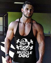 Wholesale Dog Clothes Tank Top - Wholesale- Mens Gyms Tank Top Muscle Dog Brand Clothing Male Bodybuilding Fitness Vest Stringer Crossfit Undershirt M-2XL