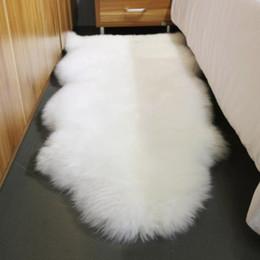 Wholesale Skin For Sofa - WonderFur SP11011P 70*100cm sheepskin rug natural white color shaggy sheep skin carpet for home decor fur floor cover sofa cover blanket