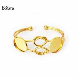 Настройки линии онлайн-BoYuTe 5 шт. круглый 20 мм кабошон настройки DIY металлический браслет Браслет линия твист узел серебряные золотые браслеты