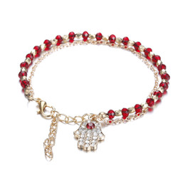 Wholesale Glass Evil Eye Charm Bracelet - Gold Tone Hamsa Fatima Bracelet Turkey Evil Eye Fatima Hand Glass Gem Bracelets Red Blue Color Beaded Bracelet For Women