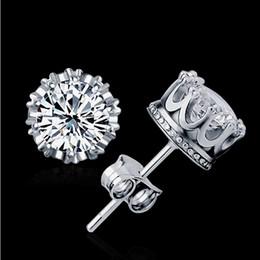 Wholesale Earings Pierce - 2016 Newest Stud Earings Fashion Jewelry Unisex Trendy Women Men Crystal Earrings Crown Earring Piercing Gifts Wholesale