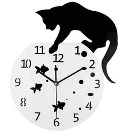 Wholesale Unique Wall Lights - Wholesale-3D Home Decor Acrylic Wall Clock Cat and Fish Design Big Watch Quartz Clock Unique Gift