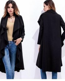 Wholesale Classic Trench Coat Women - 2017 Autumn And Winter Hot Classic Women Trench Coats Solid Color Irregular Coat Long Windbreaker Casual Outerwear