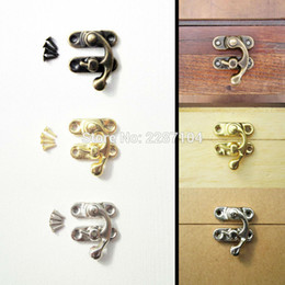 wooden locks Promo Codes - Wholesale- 12Pcs Mini Small Antique Golden Jewelry Gift Wine Wooden Box Case furniture Leather Bag Toggle Hasp Latch Lock Clasp 22x18mm