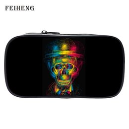Wholesale Coin Offers - Wholesale- Special Offer New Style Polyester Printing Skull Black Girls Bags Womens Key Wallets Teenagers Pencil Bag Kids Coin Purses