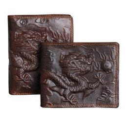 Wholesale Import Photos - Wholesale- Genuine leather Men Wallet Dragon Pattern High Quality Purse Male Fashion Style Dark Brown Imported wallets Free Shipping
