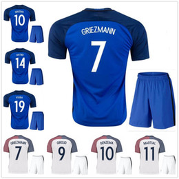 Wholesale Best Shirt Blue - Best quality 2016 Euro France Home blue soccer Jersey 2016 2017 GRIEZMANN POGBA MARTIAL Giroud Away white shirts