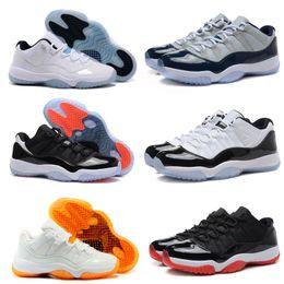 Wholesale Womens Basketball Shoes Size 11 - 2017 Retro 11 Basketball Shoes Mens Womens Low Cut Bred Citrus Concord Georgetown Space Jam Citrus Legend blue GS Sneakers sizes US5.5-13