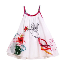 Wholesale Children Beach Paintings - Children Girls embroidery flower Dress kids Ink painting birds suspender dress Princess Dresses wholesale