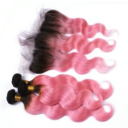 Wholesale 1b Pink Human Hair - Two Tone 1B Pink Two Tone Ombre 13x4 Full Lace Frontal With 3Bundles Body Wave Virgin Ombre Human Hair With Lace Frontal Closure