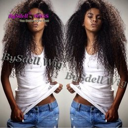 Wholesale wig chocolate - Malaysian Natural Black Color Water beach Kinky Curly Hair Front Lace Wig Synthetic Lace Front Wigs for Black  Chocolate Skin Women