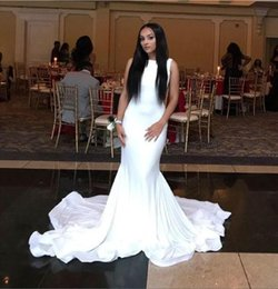 Wholesale Cheap Pipe Bone - Elegant White Satin Red Carpet Celebrity Dresses 2017 Hot Sale Sleeveless Formal Party Gown Jewel Cheap Sweep Train Prom Evening Dresses