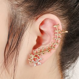 Wholesale Earing Cuffs - Leaf Gold Silver Left Ear Cuff Punk Earrings for Women Brinco Clip Earing Ear Cuff Earcuff Piercing Clip on Earrings2CE28