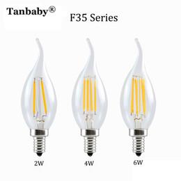 Wholesale Edison Style - Wholesale- Tanbaby Retro LED Candle E14 Filament Bulb Light 2W 4W 6W AC220V White Warm White Lamp Vintage C35 F35 Edison Style 5pcs pack