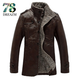 Wholesale Mens Leather Jackets Brown Winter - Wholesale- New Fashion winter PU Leather Jacket Men Black grey Brown Solid Mens Faux Fur Coats Trend Slim Fit Motorcycle Suede Jacket Male