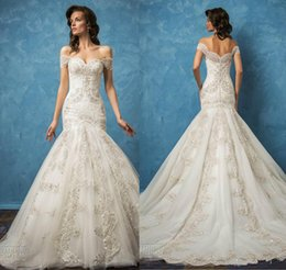 Wholesale New Arrival Mermaid Charming - Charming Off Shoulder Wedding Dresses Full Lace Mermaid Applique 2017 Spring Capped Bridal Gown Train Church Bride Dress New Arrival