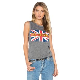Wholesale Top Uk Woman S - Fashion Women UK Flag Letters Print Sleeveless Casual Slim Fit Grey Tank Tops
