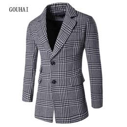 Wholesale Overcoat Wool Coat Mens Winter - Wholesale- 2016 Wool Coat Men Peacoat Plaid Winter Mens Jackets Long Brand Clothing Chaqueta Hombre Wool & Blends Men Cashmere Overcoat