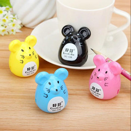 Wholesale Mouse Cutter - Wholesale- 4pcs Pencil Sharpener Cutter Knife Kawaii Cartoon Animal Mouse Korean Stationery School Award Gift Promotional Free Shipping