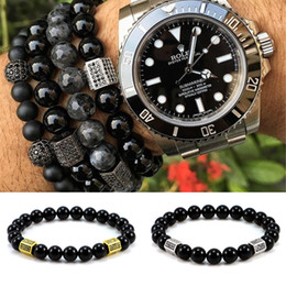 Wholesale Black Onyx Jewelry For Women - Wholesale- Anil Arjandas Pillars Beaded Bracelet with Micro Pave CZ Beads & Black Onyx Bead Weave Elastic Bracelets for Men &women Jewelry