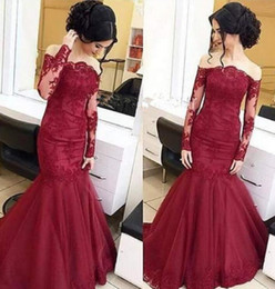 Wholesale Silver Wine Red Wedding - Gorgeous Wine Red Long Sleeves Mermaid Prom Dresses Sexy Lady Appliques Boat Neck Sweep Train Evening Gowns