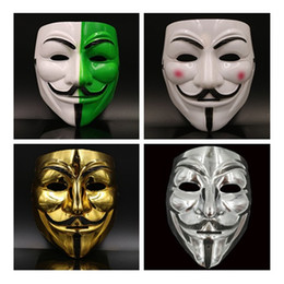 Wholesale Vendetta Mask White - V mask Vendetta white yellow Mask Anonymous Guy Fawkes Fancy Adult Costume Halloween Masks Masquerade V Masks For Halloween IC534