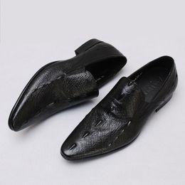 Wholesale Ostrich Shoes Men - new fashion Genuine Leather Shoes For Men Business Men's Dress Shoes Ostrich pattern