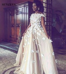 Wholesale Nude Boat Neck Dress - Eelagnt Pearls Beaded 3D Flowers Formal Evening Dresses 2017 Boat Neck Off Shoulder Long Champagne Prom Party Gowns For African Women Cheap