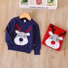 Wholesale Deer Jumpers - Everweekend Kids Girls Christmas Fashion Baby Sweater Tops Crochet Girls Blouse New Western Deer Christmas Tops