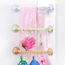 Wholesale Bathroom Hangers Towels - Wall Mounted Type Shower Room Sundries Hanger Kitchenware Storage Rack Sucker Plastic Towel Hooks 6 Hooks
