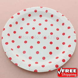 "Wholesale Christmas Party Paper Plates - Wholesale- 60pcs 9"" Red Polka Dot Round Paper Plates,Disposable Holiday Christmas New Year Party Dishes Tableware Bulk-Choose Your Colors"