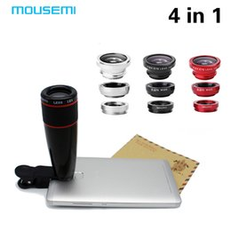 Wholesale Len Clip Eye - 4in1 12x black Zoom Telescopic Optical Lens & Macro & Wide angle Lens & Fish Eye Lens with clip for iphone samsung HTC Phoen Len