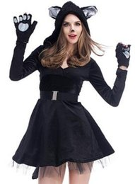 Wholesale Cats Performance - Europe and the United States new sexy v collar black cat skirt cosplay clothing hood Performance clothing