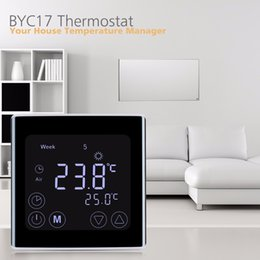 Wholesale Household Thermostat - Freeshipping Weekly Programmable Underfloor Heating Thermostat LCD Touch Screen Room Temperature Controller Thermostat White Backlight