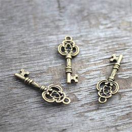 Wholesale Bronze Keys - 30pcs Key charms,Antique bronze Lovely Mini Filigree Flower key Charm Pendant 10x27mm