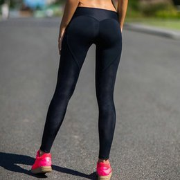 Wholesale Ms Fitness - Wholesale- 2017 Ms exercise Leggings black Workout Women Fitness Legging Splicing peach heart shaped Sexy Womens Workout Leggings