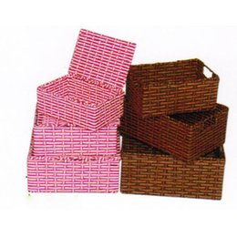 Wholesale Wholesale Decorative Baskets - Handmade Wicker Storage Basket Books Crafts Cosmetic Box Household Desktop Sundries Furnishing Decorative Reto Organizer HE-004